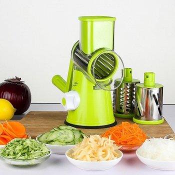 Овощерезка ручная мультислайсер Kitchen Master Терка для овощей и фруктов 3 насадки (Green)