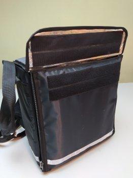 Термосумка для доставки їжі терморюкзак для доставки суші, страв та піци з перегородками. Каркас. Dolphin 35x20 см Чорна
