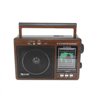 Цифровое мини радио GOLON RX-9966UAR Радиоприемник всеволновой портативный с телескопической антенной с USB mp3, WMA беспроводной FM/AM сетевой и аккумуляторный