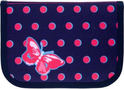 Пенал без наповнення Kite Education Butterflies 1 відділення 2 закоти Темно-синій Джинс (K21-622-3)