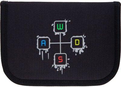 Пенал без наполнения Kite Education Gamer 1 отделение 2 отворота Черный Джинс (K21-622-4)