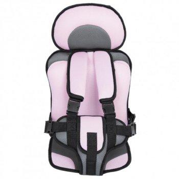 Автокрісло безкаркасне дитяче Child Car Seat 1-12 років до 36 кг Чорно-рожевий TRG-65229