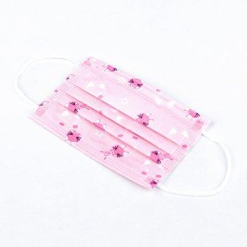 Детские медицинские маски ВОЛЕС трехслойные розовые с рисунком 50 штук