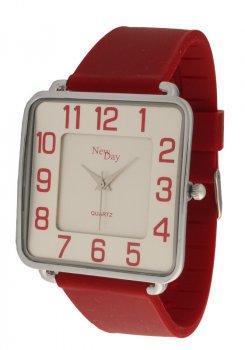 Женские часы NewDay Ch183m классические квадратные на красном ремешке
