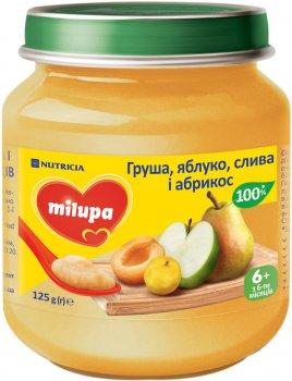 Упаковка пюре фруктового Milupa Груша, яблуко, слива, абрикос для дітей від 6 місяців 125 г х 6 шт. (8591119004000)