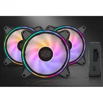 Набір вентиляторів Cooler Master MasterFan MF120 Halo 3in1 ARGB Sync+Wired ARGB Controller (MFL-B2DN-183PA-R1), 120х120х25 мм, 4pin, чорний