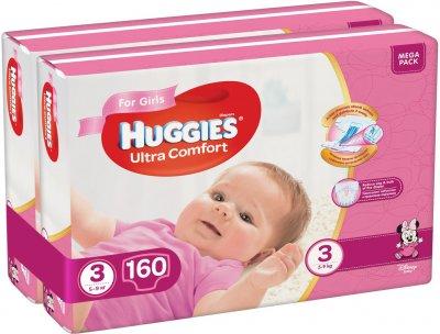 Підгузки Huggies Ultra Comfort 3 Mega для дівчаток 160 шт (80x2) (5029054218082)
