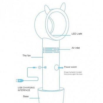Безлопатевої вентилятор UKC акумуляторний ручний портативний з підставкою і підсвічуванням, заряджається від USB-кабелю 23 см Рожевий (2323-S1)