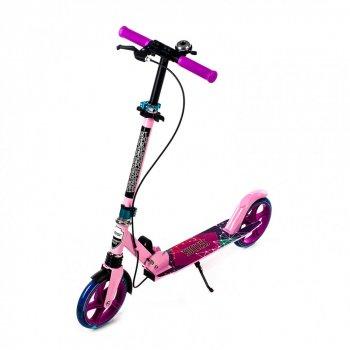 Двоколісний Самокат Amigo Explore SUCCESS NEW Scooter рожевий вишневий світяться колеса, дзвінок, ручне гальмо 1189