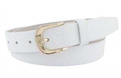 Женский классический кожаный ремень Real Leather 3 см для джинсов или платья белый 100-125 см (RL113516)