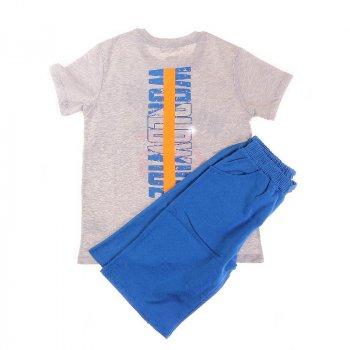 Футболка + Шорты для мальчика BREEZE 13506 м-серый/ярко-синий