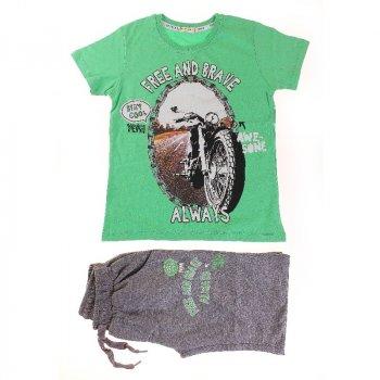 Футболка + Шорты для мальчика BREEZE 15772 зеленый/м-серый