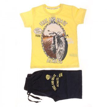 Футболка + Шорты для мальчика BREEZE 15772 желтый/т-синий