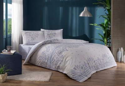 Комплект постельного белья TAC Ранфорс Robin V01 Lila 200x220 Лиловый (TAC60251261)