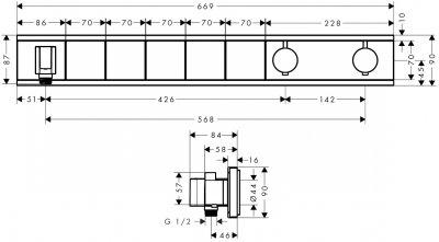 Верхняя часть смесителя для душа с термостатом HANSGROHE Rainselect 15382700