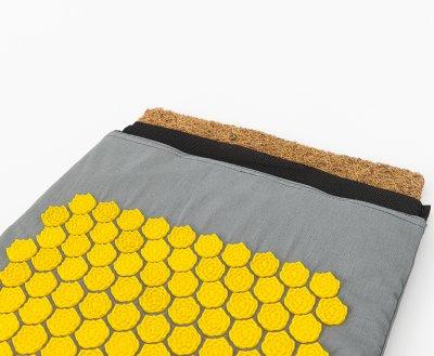 Масажний килимок і валик (аплікатор Кузнєцова) масажер для спини/шиї/тіла OSPORT Lotus Mat Eco (apl-021) Сіро-жовтий