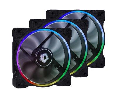Вентилятор ID-Cooling ZF-12025-RGB Trio (3pcs Pack), 120х120х25мм, 4-pin PWM, чорний