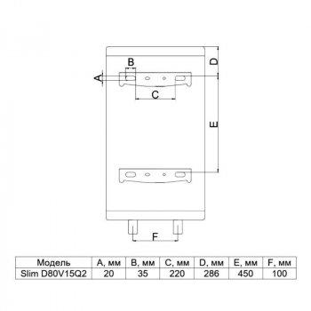 Водонагреватель Thermo Alliance Slim 80 л мокрый ТЭН 1,5 кВт (D80V15Q2)