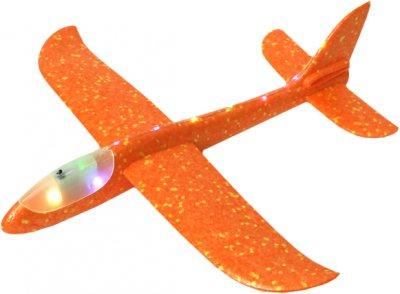 Метательный планер Maya Toys со световыми эфектами Оранжевый (S186-14-1)