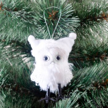 Ялинкова іграшка Новогодько (YES! Fun) Сова в шапочці, декорована сріблом, h — 9 см (973455) (5056137157778)