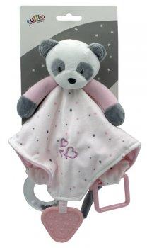 Іграшка-притулянка м'яка Tulilo Панда рожева з брязкальцем і прорізувачем