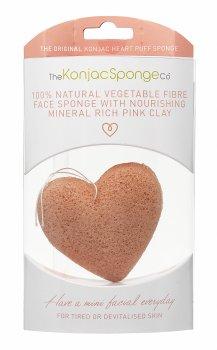 Спонж для особи Konjac sponge з конжаку і рожевою глиною серце преміум