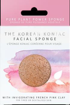 Спонж для особи Konjac sponge з конжаку і рожевою глиною преміум (в коробці)