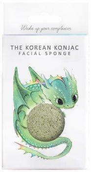 Спонж для особи Konjac sponge з конжаку і зеленою глиною в коробці з гачком (міфічний дракон)