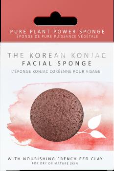 Спонж для особи Konjac sponge з конжаку і червоною глиною преміум (в коробці)