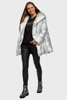 Женская серебристая куртка Oodji 10208004-2504579119N