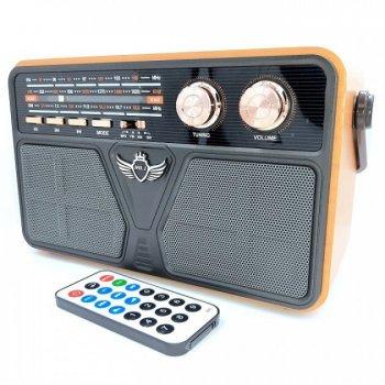 Радіо акумуляторне з Bluetooth і пультом управління Kemai Retro Brown