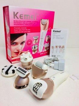 Епілятор 5в1 Kemei KM-8001 акумуляторний 27 пінцетів 2 швидкості Золотисто-білий