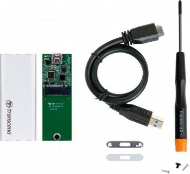 Кишеня зовнішня Transcend SSD SATA M.2 2242 - USB 3.1 Gen 1 Metal Silver
