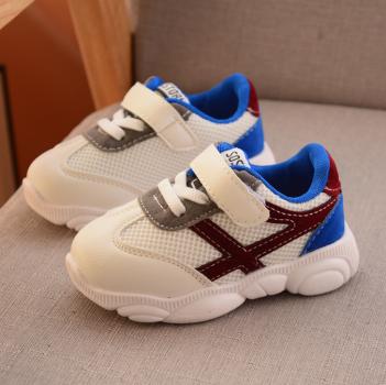 Детские белые кроссовки с цветными вставками цвет Синий