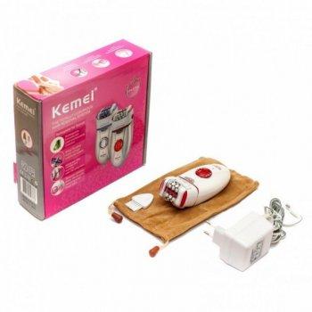 Епілятор з подвійною головкою kemei km-2666 36 пінцетів (білий, червоний) (677676)