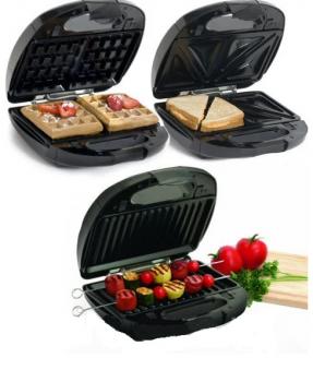 Бутербродниця, вафельниця, сендвичница 3 в 1 Crownberg CB-1071