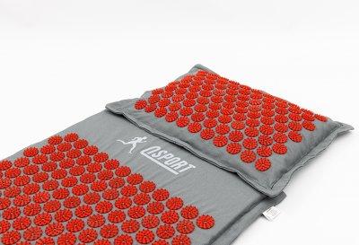 Масажний килимок і подушка (аплікатор Кузнєцова) масажер для спини/голови/ніг/тіла OSPORT Premium (apl-777) Сіро-червоний