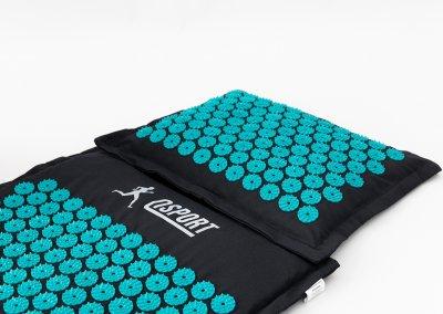 Масажний килимок і подушка (аплікатор Кузнєцова) масажер для спини/голови/ніг/тіла OSPORT Premium (apl-777) Чорно-бірюзовий