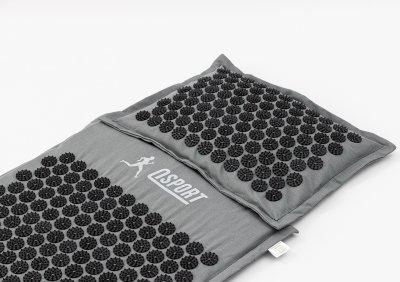 Масажний килимок і подушка (аплікатор Кузнєцова) масажер для спини/голови/ніг/тіла OSPORT Premium (apl-777) Сіро-чорний