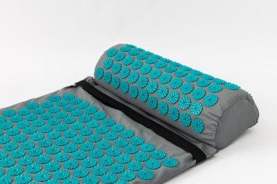 Набор Аппликатор Кузнецова массажный акупунктурный коврик + подушка массажер для спины/ног OSPORT Pro (n-0006) Серо-бирюзовый