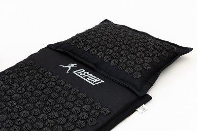 Масажний килимок і подушка (аплікатор Кузнєцова) масажер для спини/голови/ніг/тіла OSPORT Premium (apl-777) Чорно-чорний