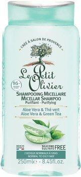 Шампунь для нормальных и жирных волос Le Petit Olivier Micellar Shampoo Purifying с алоэ и зеленым чаем 250 мл (3549620008456)