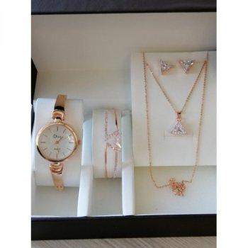 Женские наручные часы с серьгами кулоном и браслетом Lid Disu