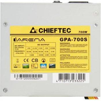 Блок живлення Chieftec GPA-700S; ATX 2.3, APFC, 12cm fan, ККД >80%, bulk