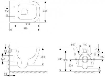 Унітаз підвісний VOLLE Solo Rimless 13-55-111 із сидінням Slim Soft Close чорний матовий