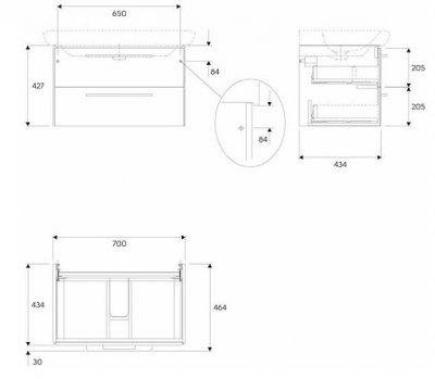 LIFE! шкафчик под умывальник 80 см с двумя ящиками, серый глянец