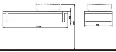 OVUM/EGO стільниця під умивальник, права 118,9 x 19,5 x 50,8 см, твк (пол.)
