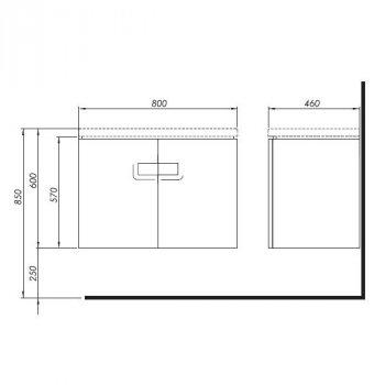 TWINS шафка під умивальник 80см, з дверцятами, білий глянець (пол.)