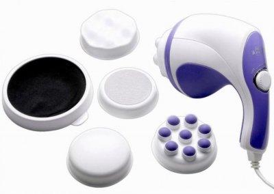 Ручний антицелюлітний масажер RELAX and TONE для тіла вібромасажер Релакс тон вібраційний 5 насадок