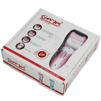 Епілятор домашній жіночий 3 в 1 Gemei GM-3052 з підсвічуванням акумуляторний 3 Вт епіляція зони бікіні ніг і пахв + бритва тріммер і пемза для п'ят (48067 I)